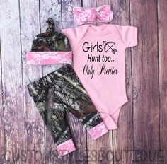 Baby Girls Coming Home Outfit Camo Leggings Hat and Headband Pink with White Lace Little Girls Country Outfit Pink Bodysuit Camo Leggings, Baby Girl Leggings, Baby Outfits, Little Girl Outfits, Camouflage Baby, Bitty Baby, Baggy Pullover, Baby Girls, Boy Babies
