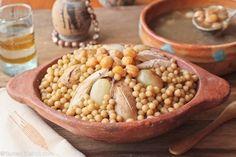 Moghrabieh = Lebanese couscous/fabulous chicken stew.
