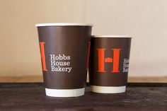 Printed compostable coffee cups for Hobbs Bakery