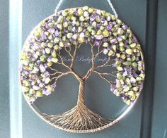 Peridot Lilac Tree, Wire Tree of Life Wall Hanging, Sun Catcher in Amethyst and Peridot, Home Decor Decor, Spring, Purple and Green