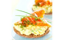 INGREDIENTS:    • ½      English Muffin, Whole Wheat • 2       Eggs whites, raw • 2oz   Salmon, Chinook, Smoked (Lox) • 2tsp  Capers, Canned, Drained • 2tsp  Onions, Chopped • 1        Tomato Slices • 1        Pinch of Salt • 1        Pam Cooking Spray, Original, Non-Stick         Share            PREPARATION:    In a non-stick skillet, cook eggs to preference using cooking spray.  Toast English muffin, cut in half and transfer English muffin to a plate  Place salmon on top of the Eng…