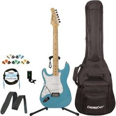 Sawtooth Classic ES 60 Alder Body Electric Guitar Kit with ChromaCast Gig Bag & Accessories, Beige