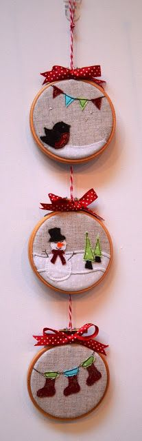 "sweet, simple Christmas ""pictures"" using scraps, linen and 3 inch embroidery hoops (would be cute ornaments)"