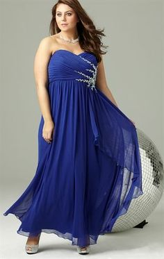 Plus Size Long Prom Dress with Sweetheart Neck and Stone Burst Side This is most beautiful on the plus size female in the two blue colors, rather than the lime green and red-orange
