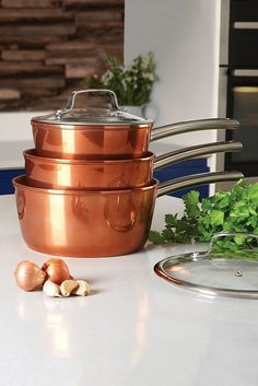 Image for Tower Copper Forged 3-Piece Saucepan Set from studio Copper Tray, Copper Lamps, Copper Rose, Copper Color, Copper Kitchen Accessories, Kitchen Trends, Pen Sets, Cooking Utensils, Kitchen Essentials