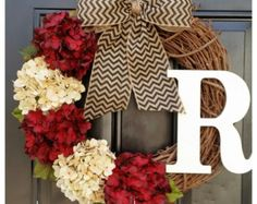 FALL Door Wreath Fall Colors Wreath Front by AutumnWrenDesigns