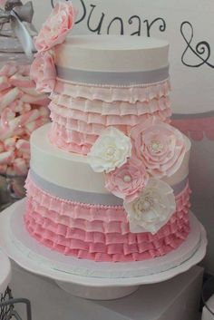 Stunning ruffle ombre cake at a tutu cute baby shower party! See more party planning ideas at CatchMyParty.com!