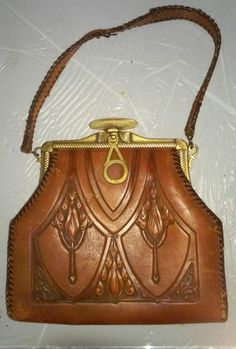 Vintage 1920s Arts   Crafts Deco Nouveau Hand Tooled Leather Nacona  NoBetterMade Handbag Turnloc Brass Closure c7e3a5dba1