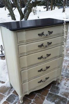 ASCP Old White and Java Gel Stain. French Provincial 5 drawer dresser.
