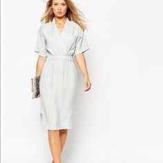 ASOS Blue Gray Kimono / Wrap Dress Fashionable yet elegant. Never been worn with tags attached. No trades or comment offers please. ASOS Dresses Midi