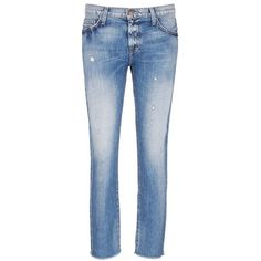 current/elliott 'The Unrolled Fling' distressed jeans ($245) ❤ liked on Polyvore featuring jeans, blue, low rise straight leg jeans, blue jeans, destroyed jeans, slim fit jeans and ripped blue jeans