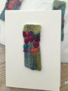 Moist Felt Machine Embroidery Nicola Overton - Artwork Felt Colour Source by NicolaTextiles Wet Felting Projects, Needle Felting Tutorials, Felted Wool Crafts, Felt Crafts, Free Motion Embroidery, Machine Embroidery, Fiber Art Jewelry, Felt Pictures, Fabric Cards