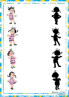 educational game find a shadow, the shadow of the heroes whose domestic cartoons Montessori Activities, Preschool Worksheets, Games For Kids, Activities For Kids, Hidden Pictures, Folder Games, Busy Bags, Activity Sheets, Educational Games