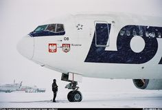 "LOT Polish Airlines Boeing 767-25D/ER SP-LOB ""Kraków"" temporarily delayed by a snowstorm at Warsaw-Okęcie, January 2004. (Photo: Krzysztof Skowronski)"