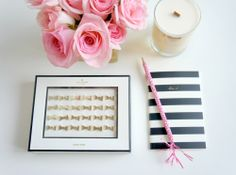 In this look: 1. Bow push pins by Kate Spade 2. Banderole pencil from Anthropologie 3. Vintage gold Georges Briard candle by Simply Curate...