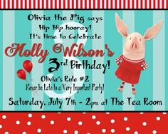 Olivia the Pig style Custom Birthday Invitation with or without child's picture for a GIRL