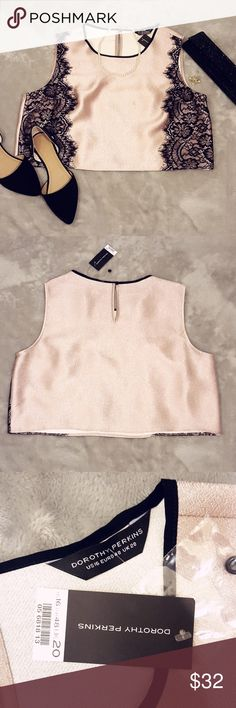 Pink and Lace Crop Top Feel ultra chic in this top that perfectly balances sexy with elegant. Pearlescent pink textured material with tacked black lace on the front. Size 20 UK = size 16 US, fits true to size.   Offers are more than welcomed :) Dorothy Perkins Tops Crop Tops