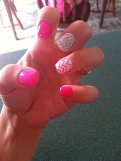 Pink sparkle white funky awesome gel nails :) summer 2014