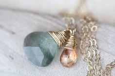 Moss Aquamarine Necklace.  Speak truth.  Release.  Throat chakra.