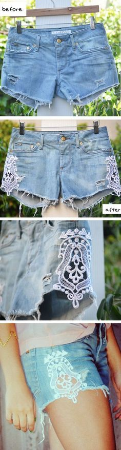 "DIY Lace Shorts -- I don't care for the shorts, but this is a great idea for making dd's skirts and dresses more ""twirly"". Just put fabric behind the lace."