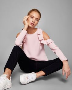 Cold shoulder ruffle top - Dusky Pink | Tops and T-shirts | Ted Baker UK