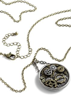 One Movement in Time Necklace. Its finally time - to tinker with your look, that is, by fitting this clockwork pendant necklace into your attire! #multi #modcloth