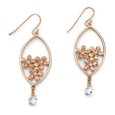 Crystal Briolette and Cubic Zirconia Flower Bouquet Pierced Earrings in 14k Rose Gold-Plated Isabella Collection. $24.99