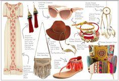 http://fashionrooftop.com/iwant.htm  bohemian rhapsody, boho chic, chair, hat, maxi dress, fringe, friendship bracelet, dream catcher, arrow, feathers, cat-eye sunglassses