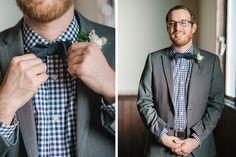 Raleigh weddings, groomsmen details by Lauren Jonas, plaid shirt and bowtie  www.laurenjonas.com