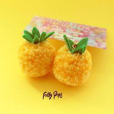 Pineapple Pom Pom Earrings, tropical, exotic, kitsch fruit, rockabilly, kawaii