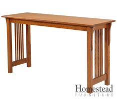 Lakota Sofa Table The focus is on the craftsmanship Lakota Sofa Table, making it a perfect fit for the craftsman mission style.  Quarter sawn oak is an obvious choice for this chest of drawers, but additional woods and finishes are available to suit your tastes. Pair it with other Mission pieces to complete your craftsman mission room design. http://homesteadfurnitureonline.com/occasionals_lakota-sofa-table.html