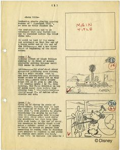 An original script and storyboard for Steamboat Willie, 1928