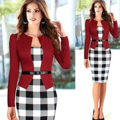 Plaid Patchwork Long Sleeves Knee-length Pencil Dress With Belt on – Oh Yours Fashion