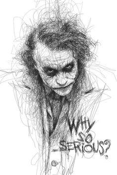 Artist Vince Low has turned once-aimless doodling into Scribble Art, which is an advanced art form of penmanship. Described as Scribbles with life, Vince Low's works are invariably in portrait form. Art Du Joker, Le Joker Batman, Harley Quinn Et Le Joker, Der Joker, Superman, Gotham Batman, Jocker Batman, Harley Quinn Drawing, Batman Robin