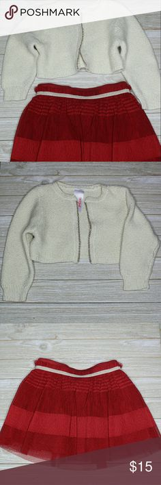 Formal Outting Outfit Cream colored cardigan with gold front lining knit texture and red skirt; used once Matching Sets