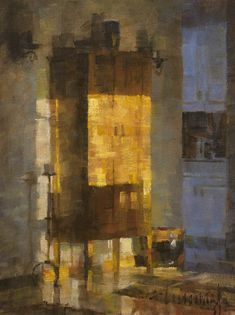 Cupboard at Sunset by James Crandall Oil 16 x 12