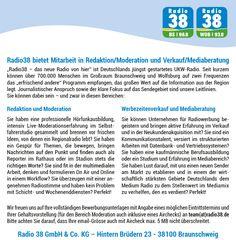 Radio38 bietet Mitarbeit in Redaktion/Moderation und Verkauf/Mediaberatung | radioWOCHE