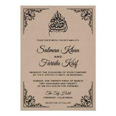 #elegant - #Rustic Kraft Islamic Muslim Wedding Invitation