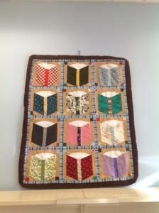 Beautiful book quilt given as a (fantastic!) thank-you gift to children's librarian Tiffany James of the Mosholu Library (part of the New York Public Library system)