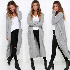 LOVE STITCH Grey Cable Knit Duster available and InStock @ dillynnmiles.com