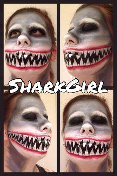 Pirate Halloween, Halloween 2017, Halloween Makeup, Halloween Ideas, Halloween Party, Shark Face Painting, Girl Face Painting, Shark Makeup, Maquillage Halloween