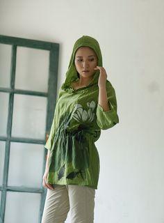 Long Sleeve Women Shirt Hoodie Blouse Fashion Style by MissLinen, $66.00