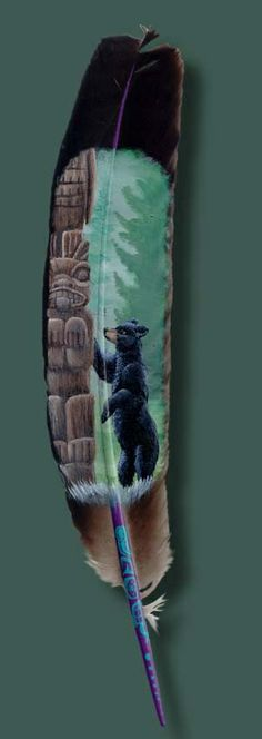 Featherlady Studio: wildlife art by Northwest artist Julie Thompson. An adolescant black bear gazes up quizzically at a carved pole, as if trying to understand its meaning. Native Art, Gourd Art, Art Painting, Animal Art, Feather Art, Antler Art, Wildlife Art, Art, Pictures To Paint