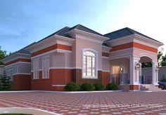 Modern Bungalow House Plans, Modern Bungalow Exterior, Bungalow Style House, Bungalow Floor Plans, House Floor Design, House Outside Design, Duplex House Design, 4 Bedroom House Designs, House Plans Mansion
