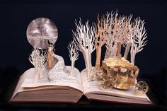 The Golden Carriage - 8x10 photograph of a Book Sculpture via Etsy Little Red Riding, Red Riding Hood, Up Book, Book Art, Book Sculpture, Paper Sculptures, Metallic Paper, Coffee And Books, Book Folding