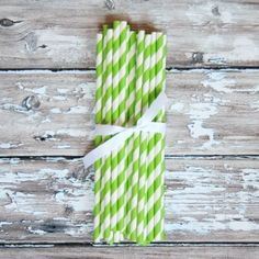 Striped Party Straws - Lime Green