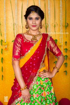 Half Saree Designs, Fancy Blouse Designs, Lehenga Designs, Saree Blouse Designs, Salwar Designs, Half Saree Lehenga, Bridal Lehenga Choli, Saree Wedding, Anarkali