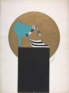 Shoe Design for Delman's Shoes, New York by Erté (Romain de Tirtoff), c.1934.