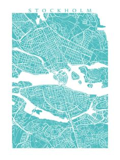 Stockholm Map Sweden Poster by CartoCreative on Etsy