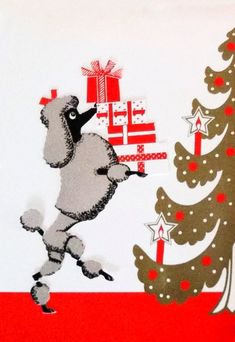 Three 1950s Vintage Henri Fayette Poodle Christmas Cards w/ Orig. Lined Envelope